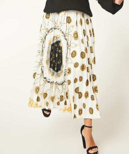 43de9715f782 Bloggers Boutique White & Gold Status Pleated Maxi Skirt - Women ...