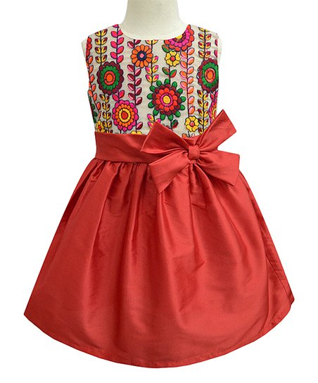 49b68cbf7 love this product Red Aster Bow Fit & Flare Dress - Infant, Toddler & Girls