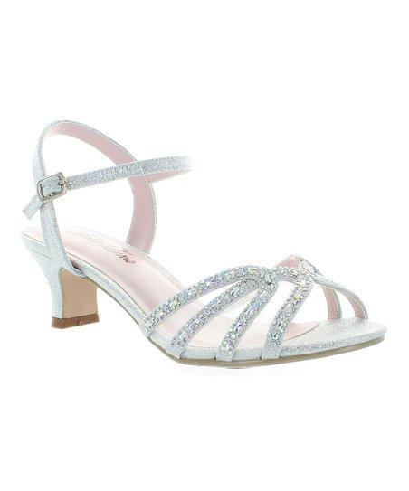 new arrive various design buy Bella Luna Silver Embellished Wide-Heel Dina Sandal - Women | Zulily
