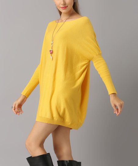 4afff4400f2a Charlie Charlie Charlotte Yellow Long-Sleeve Knit Shift Dress ...