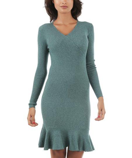 d8308a1436d My Favorite Cachemire Green Ruffle-Hem Sweater Dress - Women