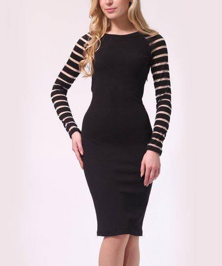 love this product Black   Silver Stripes Stripe-Sleeve Bodycon Dress - Women 4ce10c5e79