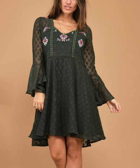 2a86226ca5c Peace and Love Green Embroidery Lace Bell-Sleeve Skater Dress ...