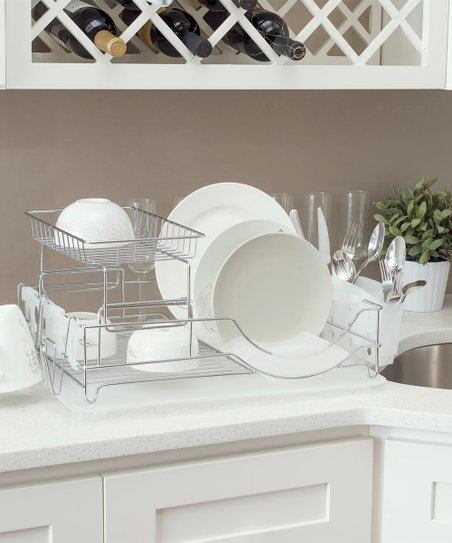 love this product White Two-Tier Deluxe Dish Drainer 0503f14af0