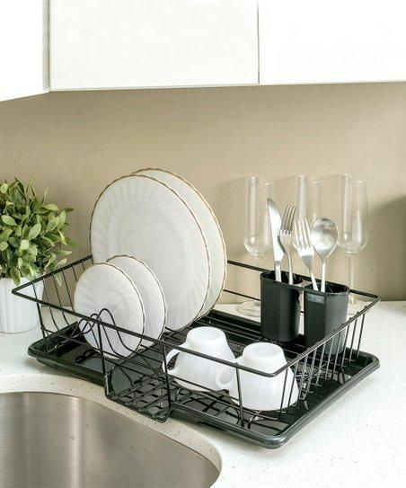 home basics Black Three-Piece Dish Drainer  782c5c80eb