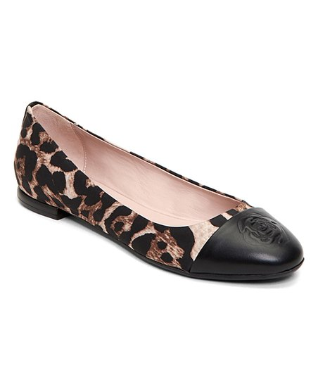 430d556a50c Taryn Rose Black   Ivory Leopard Rosa Leather Ballet Flat - Women ...