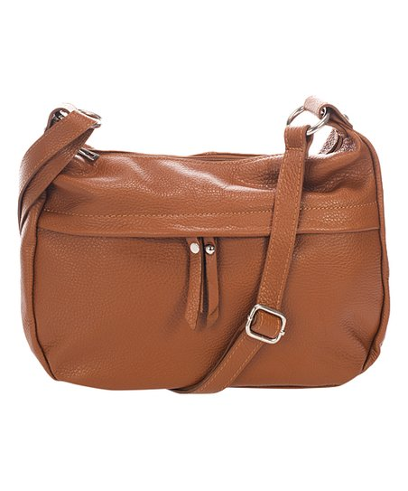 5e4b3725a Marco Chiarini Cognac Zip-Accent Leather Crossbody Bag | Zulily