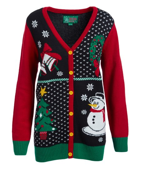 Ugly Christmas Sweater Black Snowman Button Up V Neck Sweater