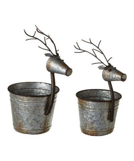 Love This Product Reindeer Galvanized Metal Bucket Planter Set Of Two