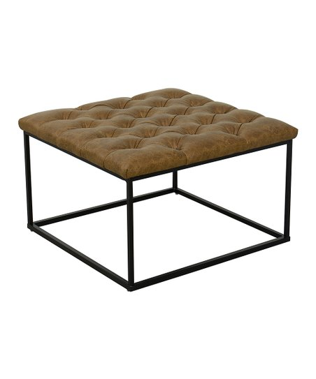 Astonishing Kinfine Light Brown Tufted Faux Leather Draper Square Ottoman Camellatalisay Diy Chair Ideas Camellatalisaycom