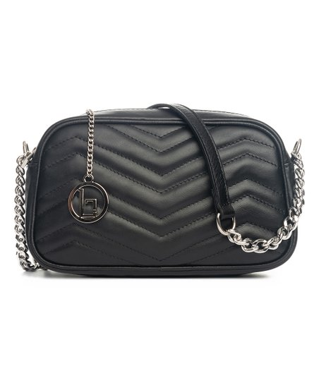 d60e43e35648 Lia Biassoni Black Quilted Zigzag Leather Crossbody Bag