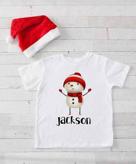 901217be02ab love this product White   Red Snowman Personalized Tee   Santa Hat Set -  Infant