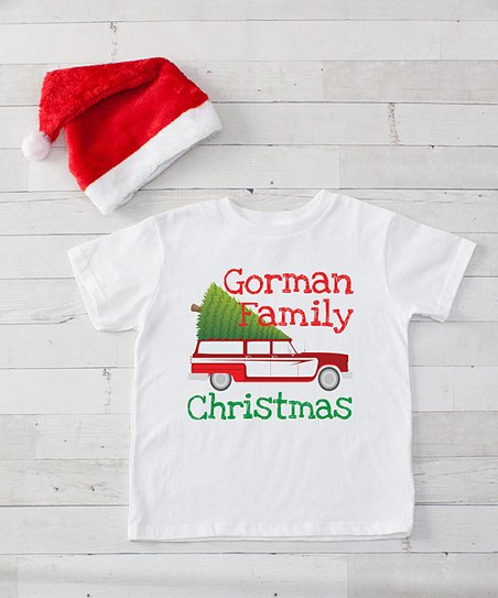 love this product White  Family Christmas  Vintage Station Wagon  Personalized Tee   Santa Hat Set - Infant 60ff239ed7a