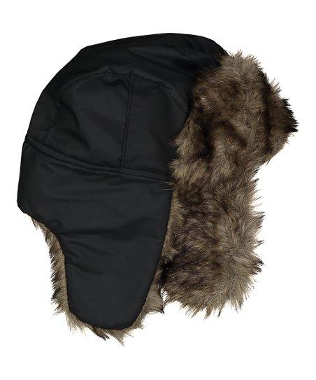 3da8d18e10b NYC underground Black Faux-Fur Lined Trapper Hat