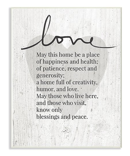 Stupell Industries Love For Home Poem Wall Art Zulily