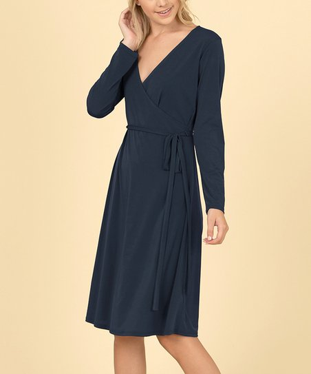 5c51ffd520c2 love this product Navy Long-Sleeve Wrap Dress - Women