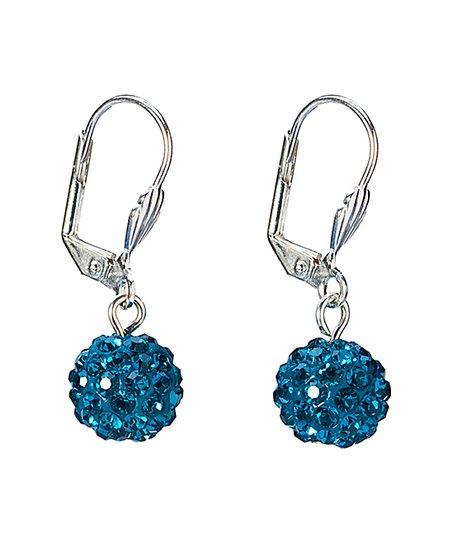 6b362586e Callura Blue Shamballa Ball Drop Earrings With Swarovski Crystals