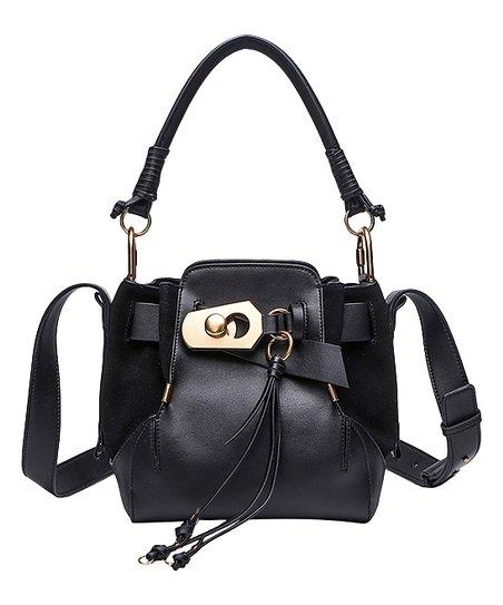 b01400e831 Cilela Black Tassel-Accent Leather Bucket Bag