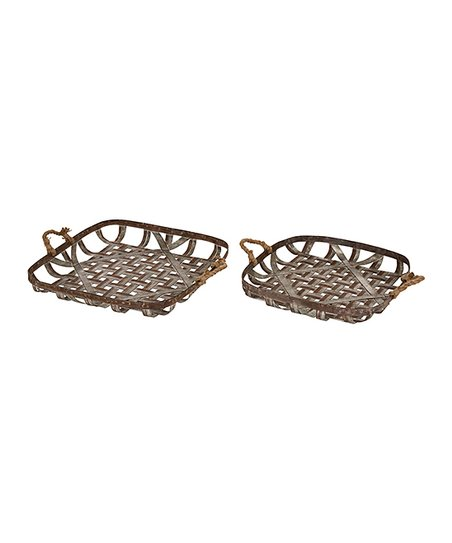 Love This Product Rust Finish Woven Galvanized Metal Wall Basket Set Of Two
