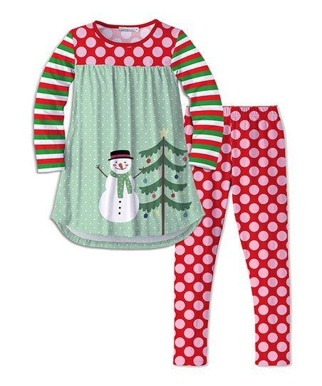 fa25c919024fc love this product Red & Green Christmas Tree & Snowman Tunic & Dot Leggings  - Toddler & Girls