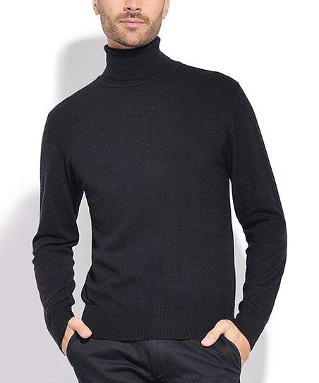 C Jo Black Cashmere Silk Blend Turtleneck Sweater Men Zulily