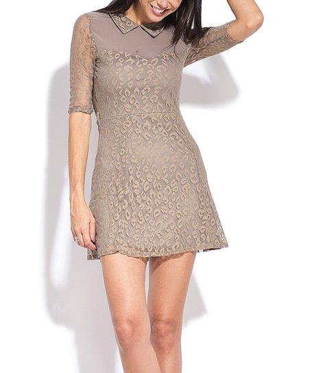 fb400b5de869 Charlotte et Louis Taupe Lace Empire-Waist Dress - Women | Zulily