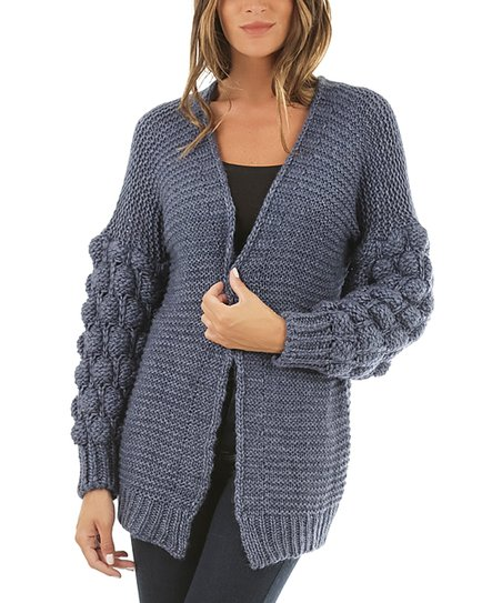 5023fad8981e La Fabrique de la Maille Blue Puff-Sleeve Open Cardigan - Women