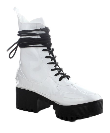 d84b421f3 Cape Robbin Collection White Dashing Patent Leather Combat Boot ...