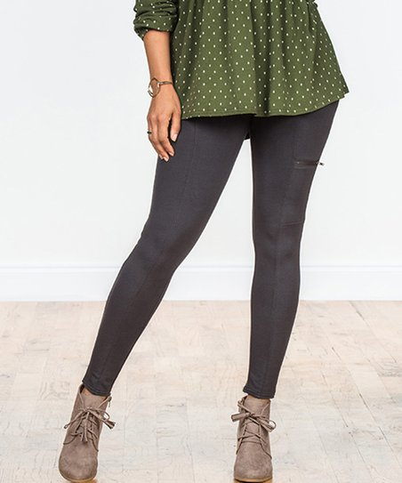 6757d154b3bce Matilda Jane Clothing Charcoal Zip Zip Hooray Leggings - Women | Zulily