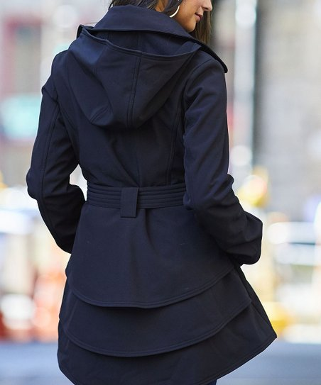 Jessica Simpson Collection Black Hooded Layered Trench Coat Women