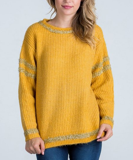 Sbs Fashion Mustard Gold Shimmer Sweater Women Zulily