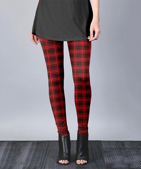 b9a9104c108c58 love this product Red & Black Plaid Leggings - Women & Plus