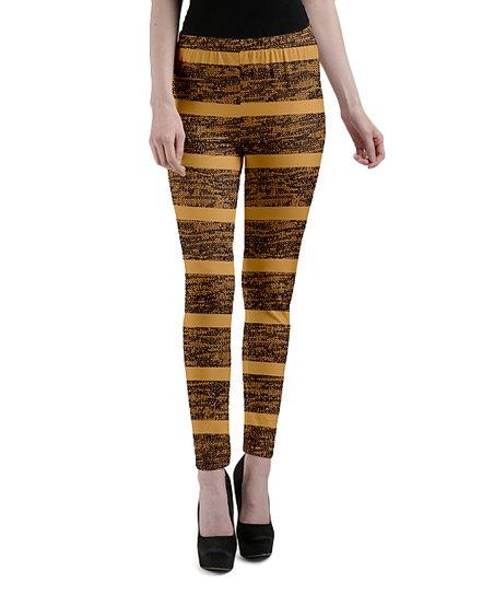 96456cd99d528 love this product Yellow & Black Stripe Leggings - Women & Plus