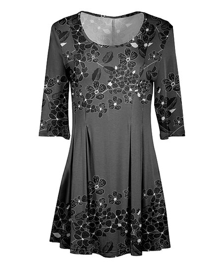 2a4ccc4e75a Lily Gray   Black Floral Pleated Scoop Neck Tunic - Plus