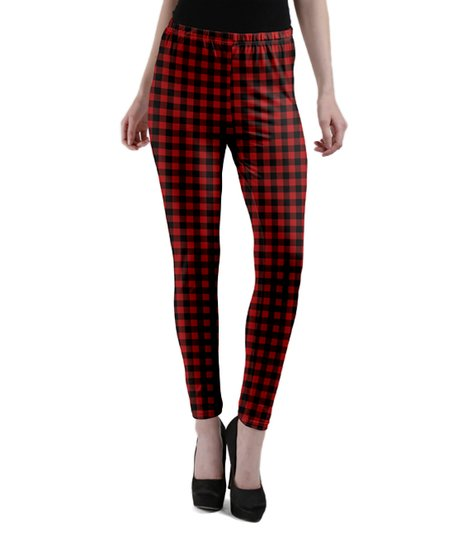 006e4aaddb469d love this product Red & Black Plaid Leggings - Women