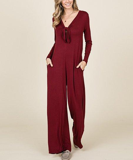 a01238ecbe15 Annabelle USA Burgundy Tie-Neck Wide-Leg Jumpsuit