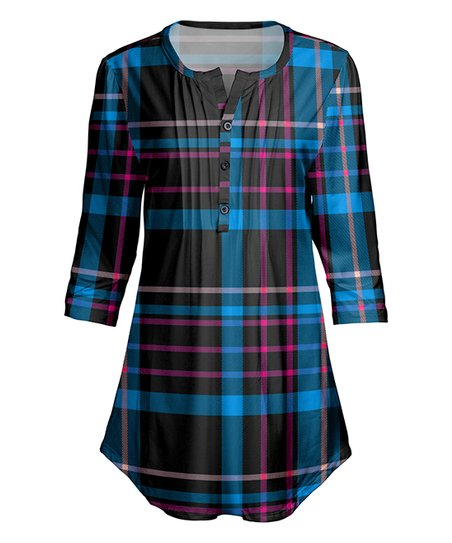 ce10793a09b love this product Blue & Pink Plaid Button-Front Tunic - Women