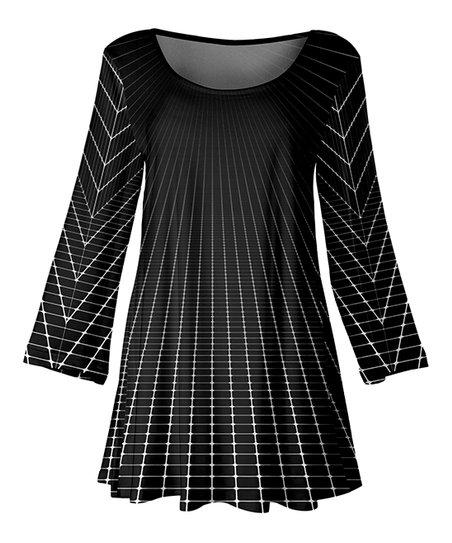 88222059069 Black   White Diminishing Grid Three-Quarter Sleeve Scoop Neck Swing Tunic  - Women