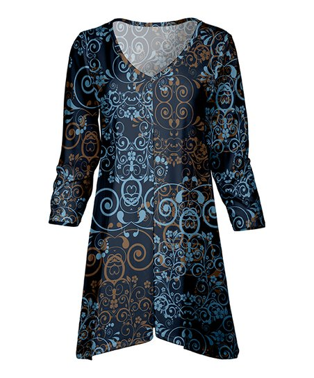 5df5213d2a8 love this product Blue & Brown Scroll Front-Slit Tunic - Women & Plus