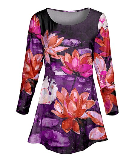 482350fc639 love this product Purple & Orange Floral Scoop Neck Fit & Flare Tunic -  Women