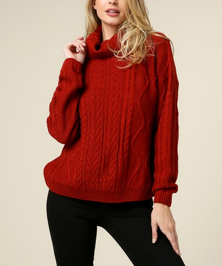 9106e0f9da2 love this product Rust Cable-Knit Sweater - Women
