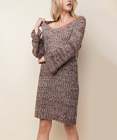 71d5ce18f8 love this product Brown V-Neck Sweater Tunic Dress - Women