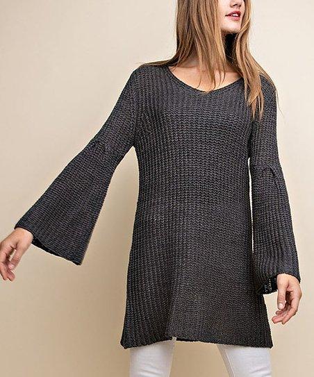 de48a895ace Gray Bell-Sleeve V-Neck Sweater Tunic Dress - Women