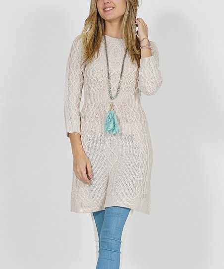 8764e058d35 love this product Oatmeal Diamond Cable-Knit Three-Quarter Sleeve Sweater  Dress - Women
