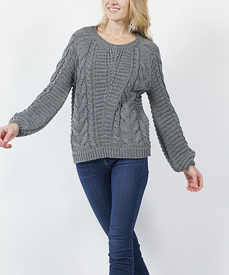 a6ea61e3ca1 love this product Gray Cable-Knit Puff-Sleeve Sweater - Women