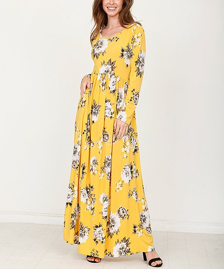 4ad7a89583b love this product Mustard Floral Maxi Dress - Women   Plus