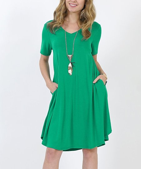 598a994a3a9 love this product Kelly Green V-Neck Short-Sleeve Curved-Hem Pocket Tunic  Dress - Women & Plus
