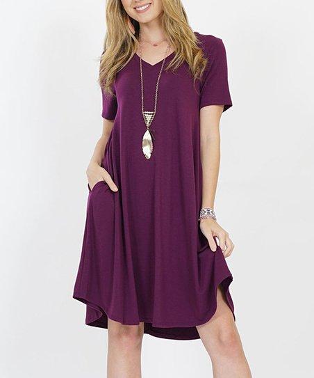 baa7656dc11 love this product Dark Plum V-Neck Short-Sleeve Curved-Hem Pocket Tunic  Dress - Women