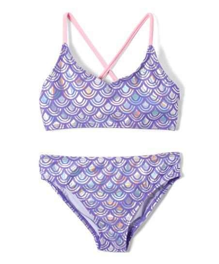 a744bd4d16209 love this product Purple & Pink Sparkling Fish Scale Bikini - Girls