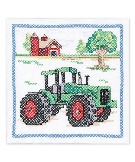 Janlynn Tractor Stamped Embroidery Quilt Blocks - Set of Six